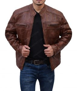 Padded Shoulder Brown Jacket