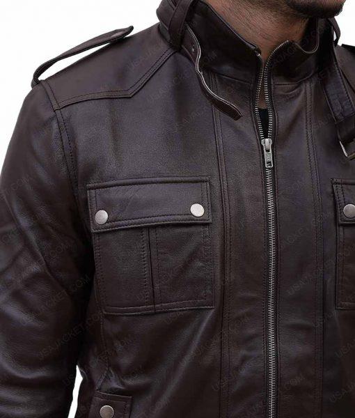 Slimfit Strap Pocket Dark Brown Jacket