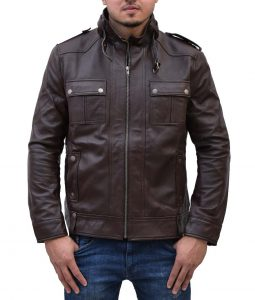 Mens Slimfit Strap Pocket Dark Brown Jacket