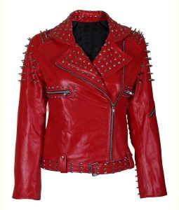 New Britney Spears Till the World Ends Brando Style Silver Spiked Leather Jacket