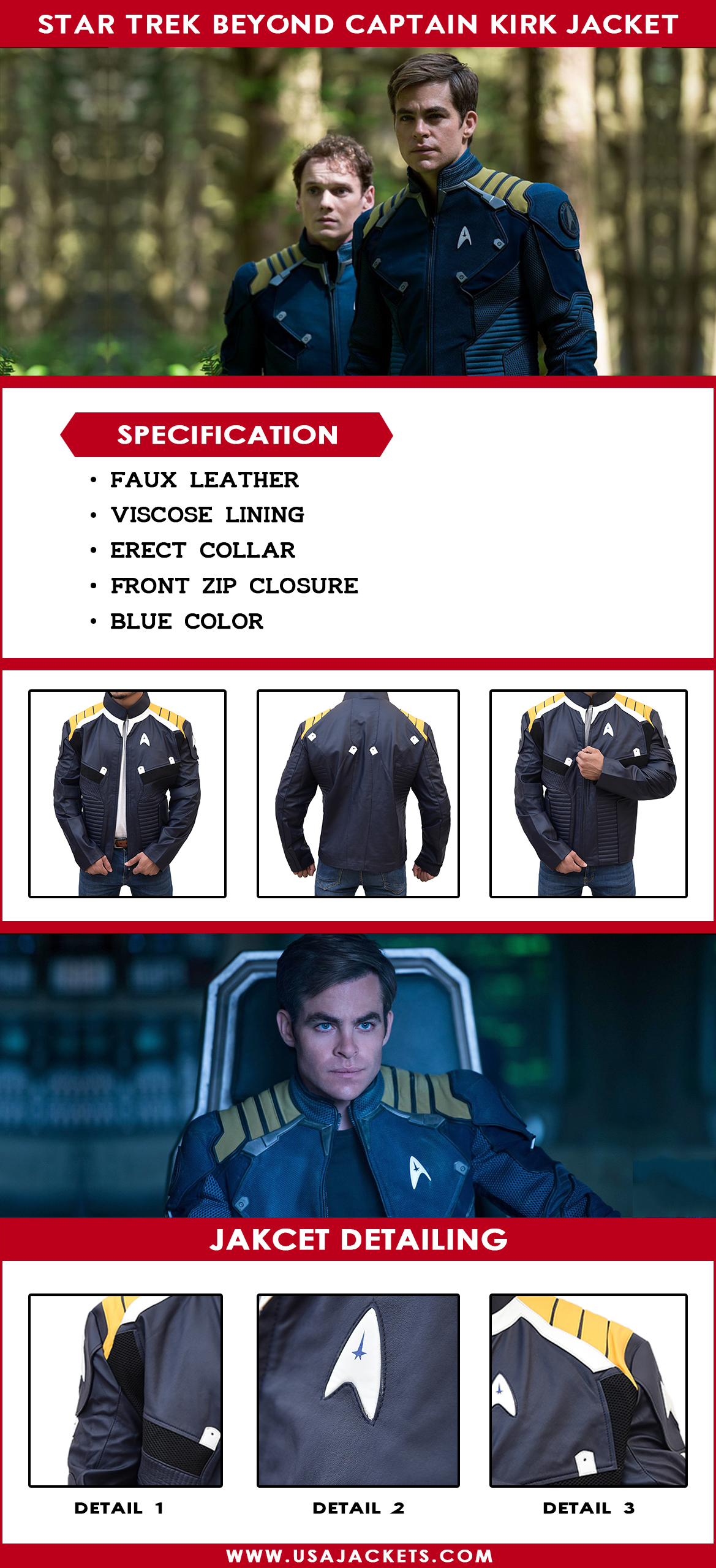 Star Trek Beyond Captain Kirk Uniform Jacket