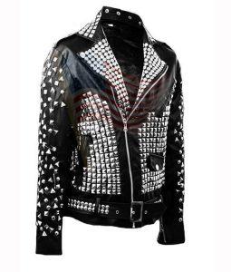 Black Cowhide Leather Studds Jaket