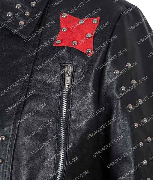 Vox Lux Raffey Black Studded Leather Jacket