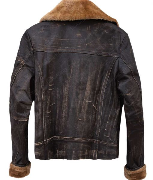 Womens Bomber Distressed Shearling Leather Jacket