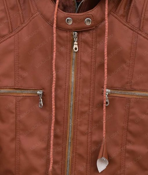 Womens Brown Leather Hooded Jacket