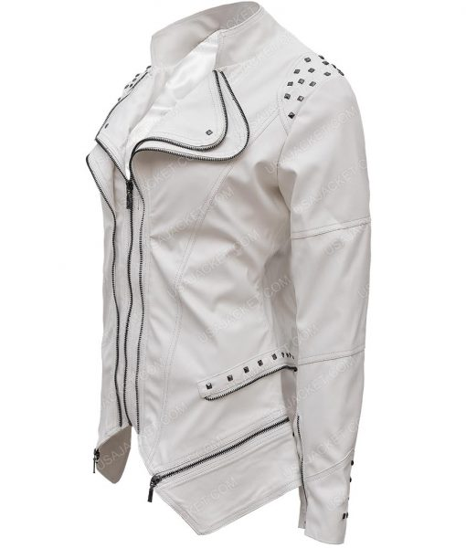 Womens White Faux Studded Slim Fit Moto Jacket