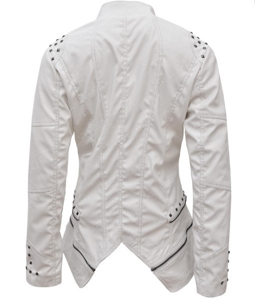Womens White Faux Studded Punk Leather Jacket