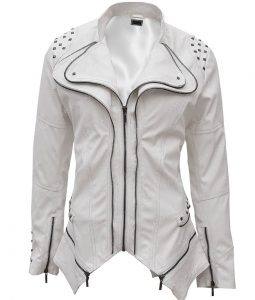 Womens White Faux Studded Punk Slim Fit Jacket