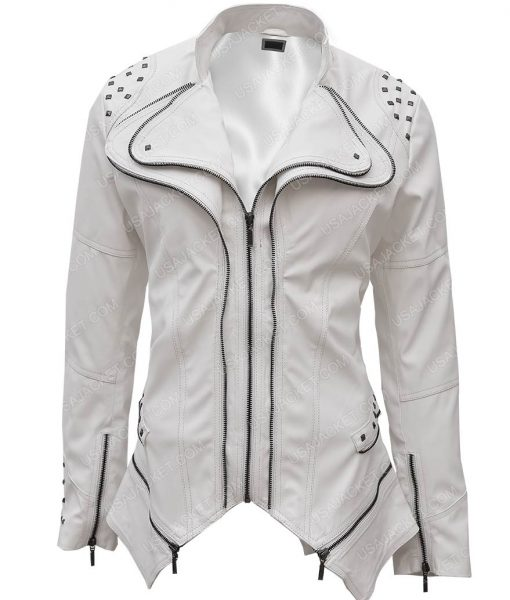 Womens White Faux Studded Punk Slim Fit Moto Jacket