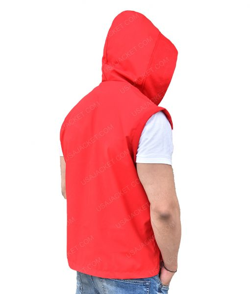Michael B. Jordan Red Hooded Vest