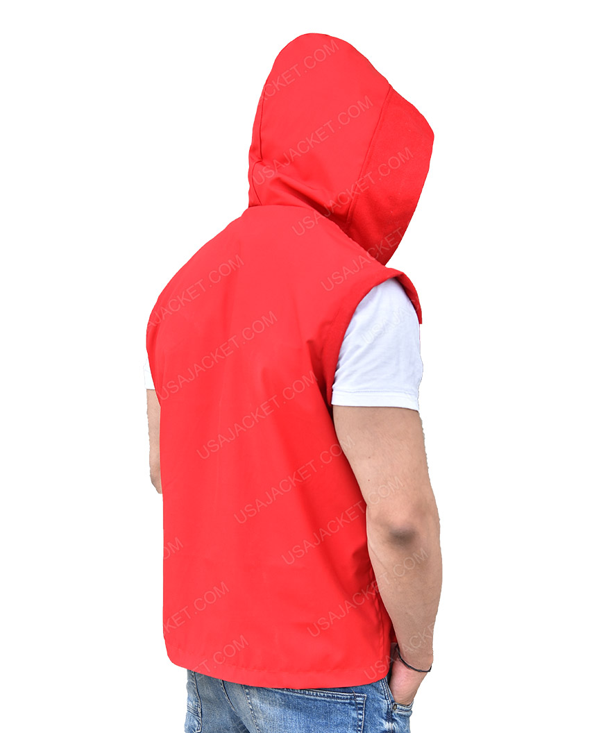 d5ad1c97985f31 Creed II Adonis Johnson Double Zipper Red Hooded Vest