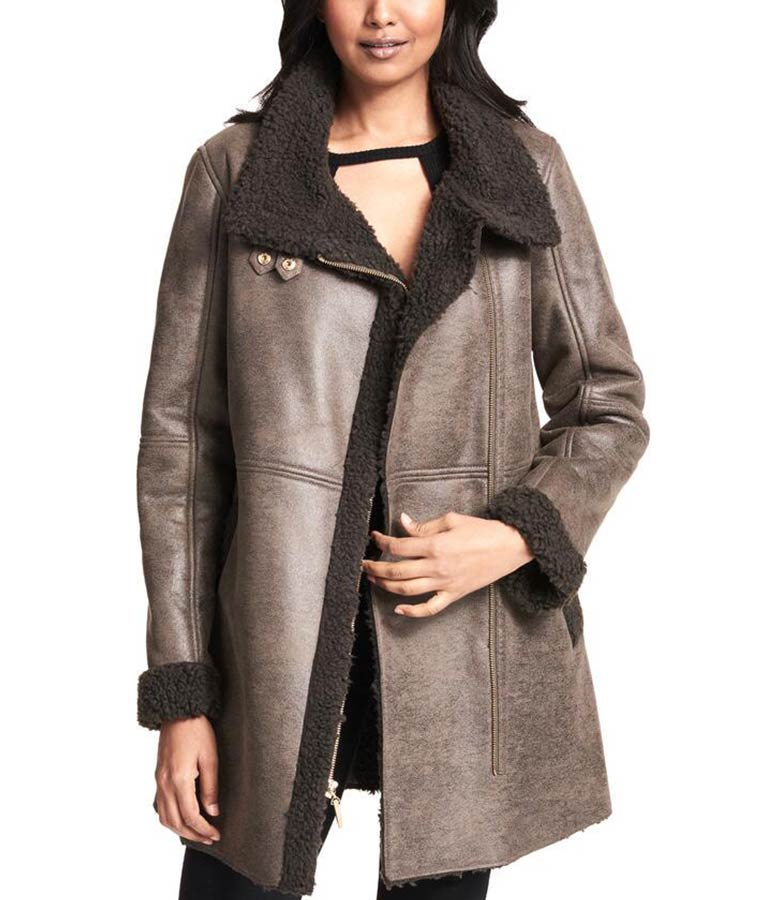 9713f25dfd63 Womens Faux Shearling Asymmetrical Zip Coat - Usajacket
