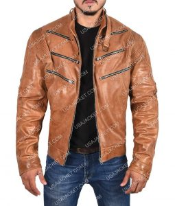 Bronze Tiger Arrow Biker Jacket