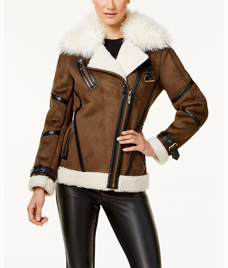 47ee9c26a Asymmetrical Faux Leather Shearling Jacket