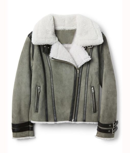 Shearling Suede Leather Coat