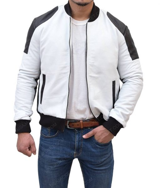 Mens White And Black Moto Leather Jacket