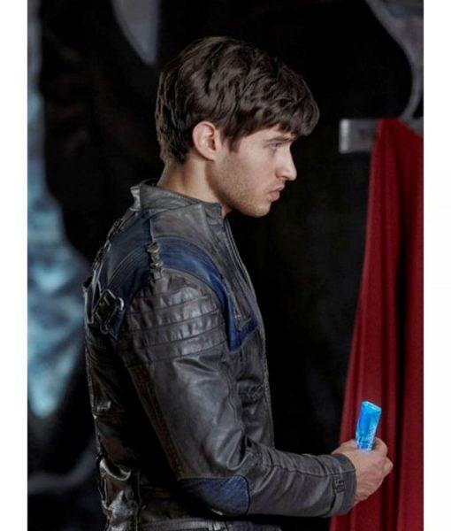 Cameron Cuffe Krypton TV Series Seg-El Brown Leather Jacket