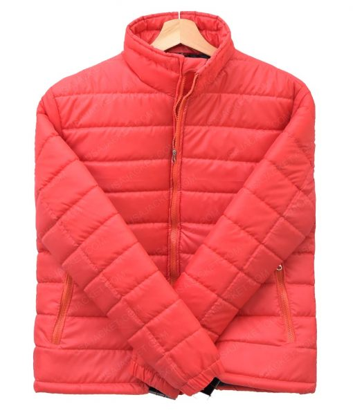 Men's Stand Collar Burgundy Quilted Down Puffer Jacket