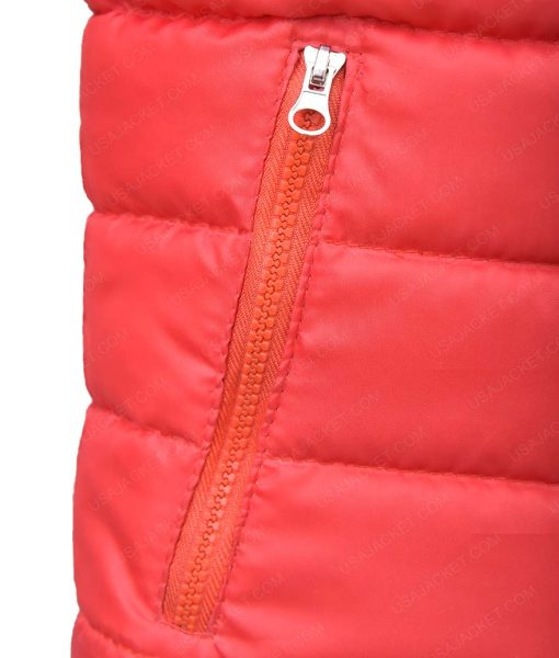 Mens Down Puffer Burgundy Quilted Jacket
