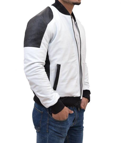 Mens Joliet White And Black Moto Leather Jacket