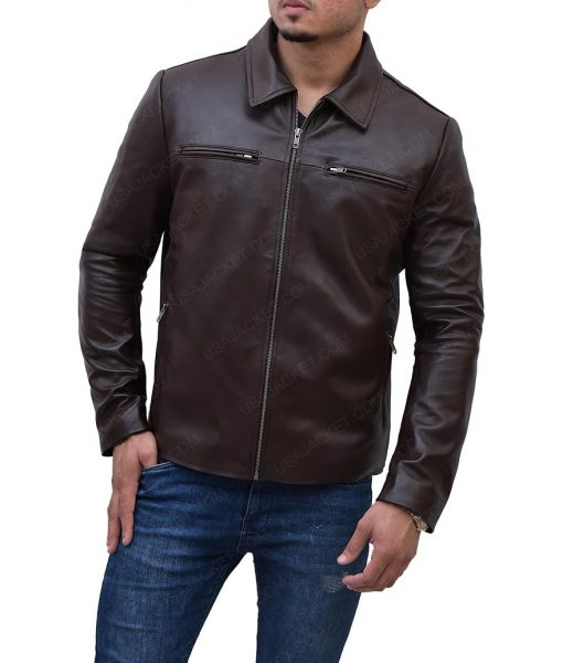 Mens Casual Brown Slimfit Jacket