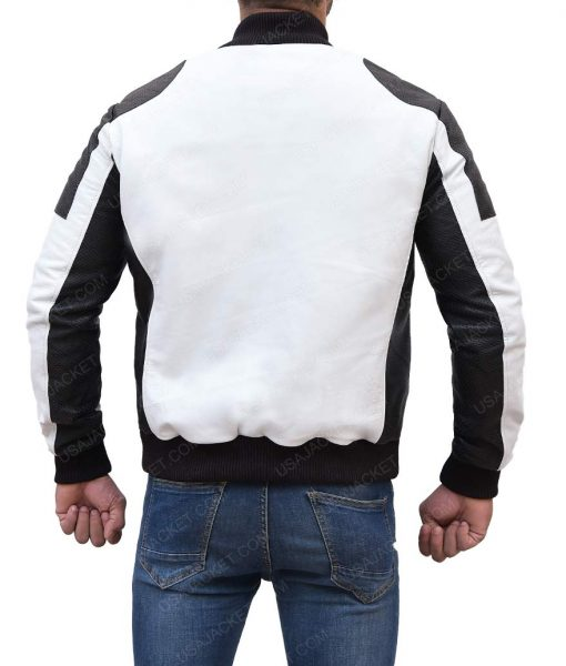 Mens White And Black Moto Jacket