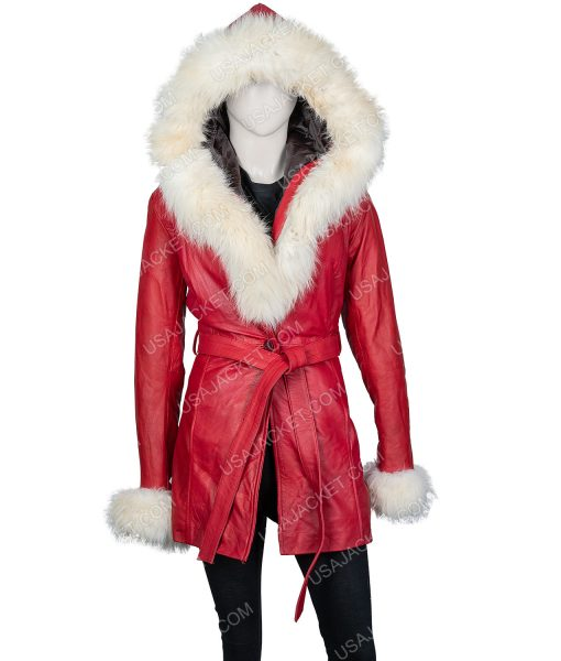 The Christmas Chronicles Red Leather Jacket With White Fur Collar
