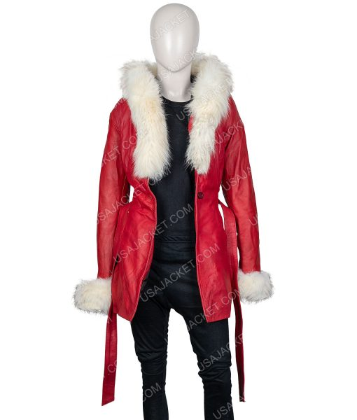 Mrs. Claus The Christmas Chronicles Goldie Hawn Fur Leather Jacket