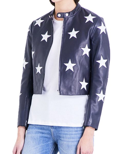 Cheryl's Star Printed Cafe Racer Jacket