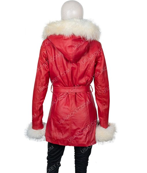 Mrs. Claus The Christmas Chronicles Red Leather Coat With Fur Collar