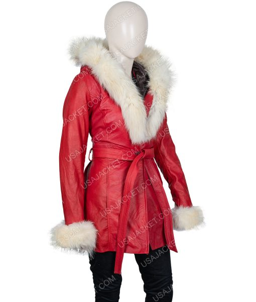 The Christmas Chronicles Mrs. Claus Fur Hooded Leather Jacket