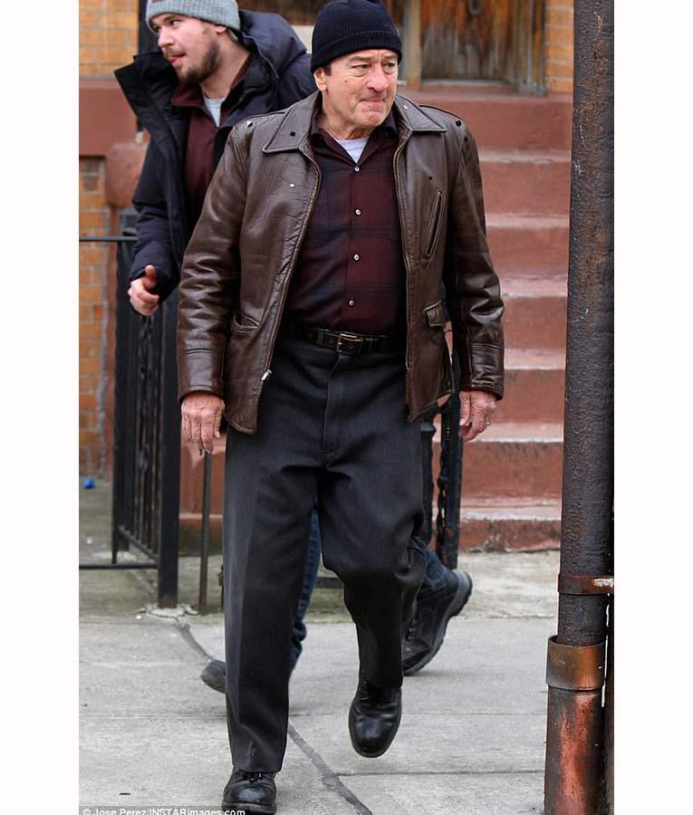 the irishman frank sheeran brown leather jacket