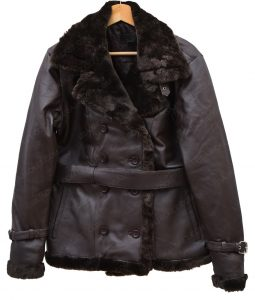 Womens Fur Collar Belted Leather Coat