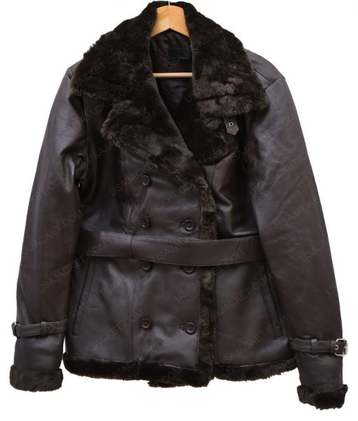 Womens Belted Black Coat