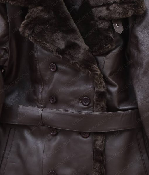Womens Fur Collar Belted Black Leather Coat