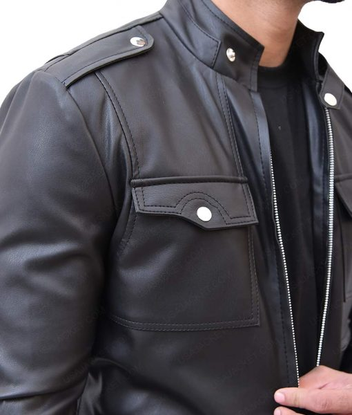 Mens Zipup Multi Pocket Style Slimfit Leather Jacket