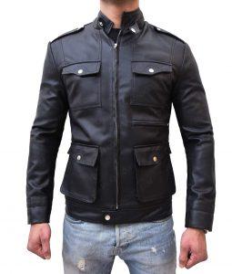Mens Zipup Multi Pocket Style Slimfit Black Leather Jacket