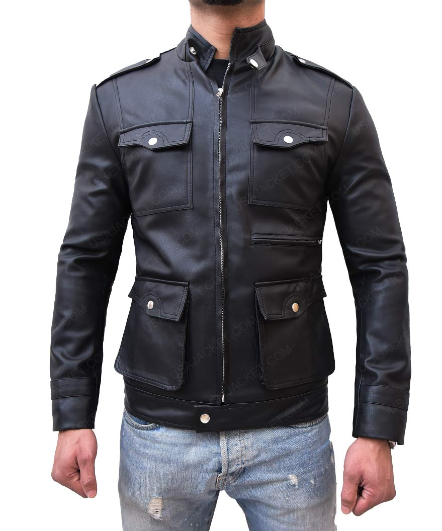Mens Zipup Multi Pocket Style Slimfit Black Leather Jacket