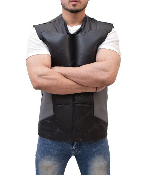 Seth Rollins Slimfit Black Leather Vest