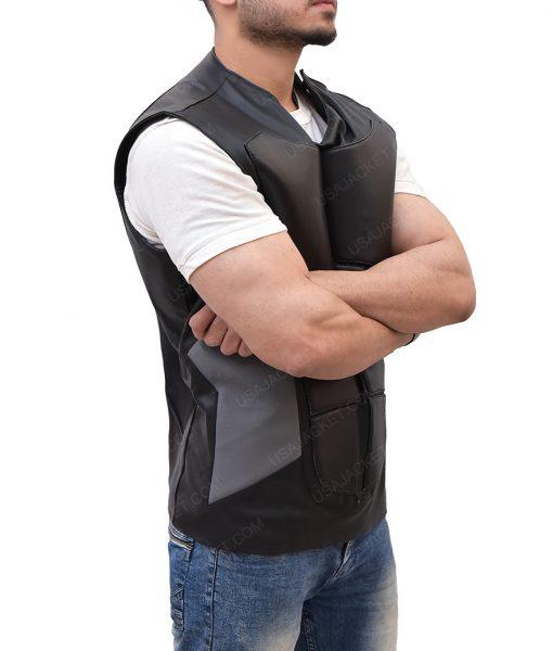WWE Seth Rollins Slimfit Black Leather Vest