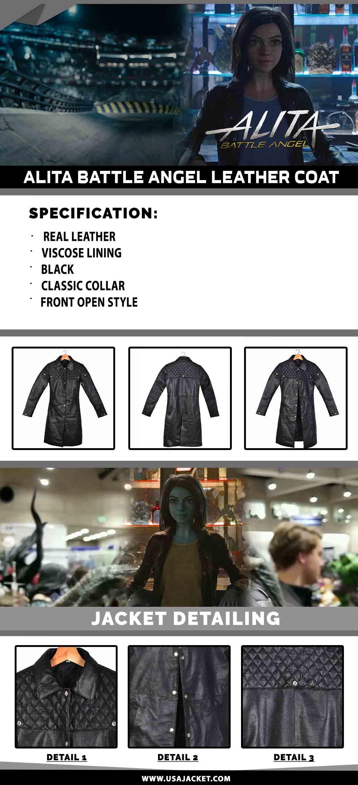 Alita Battle Angel Leather Coat Infographic