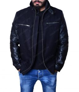 Austins Leather Sleeves Black Wool Jacket
