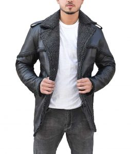 Ben Barnes The Punisher 2 Billy Russo Black Shearling Coat
