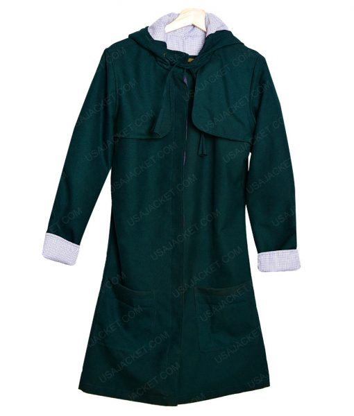 Doctor Who S8E12 Clara Oswald Green Hooded Mid-Length Cotton Jacket