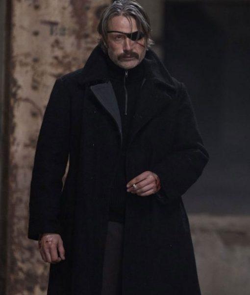 Duncan Vizla Polar Mads Mikkelsen Black Wool Coat