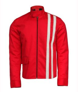 Speedway Elvis Presle Red Cotton Jacket With White Stripes
