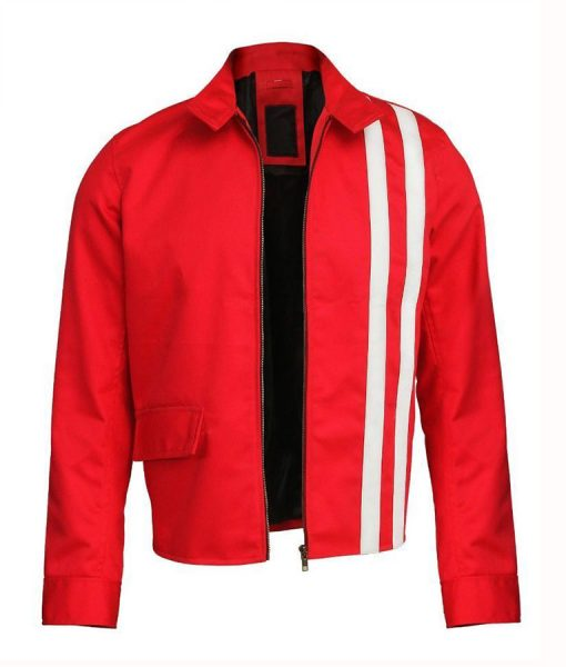 Elvis Presle Red Cotton Jacket With White Stripes
