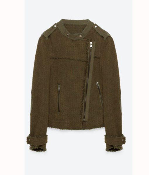 Emily Bett Rickards Arrow S6E8 Felicity Smoak Khaki Knit Zip Jacket