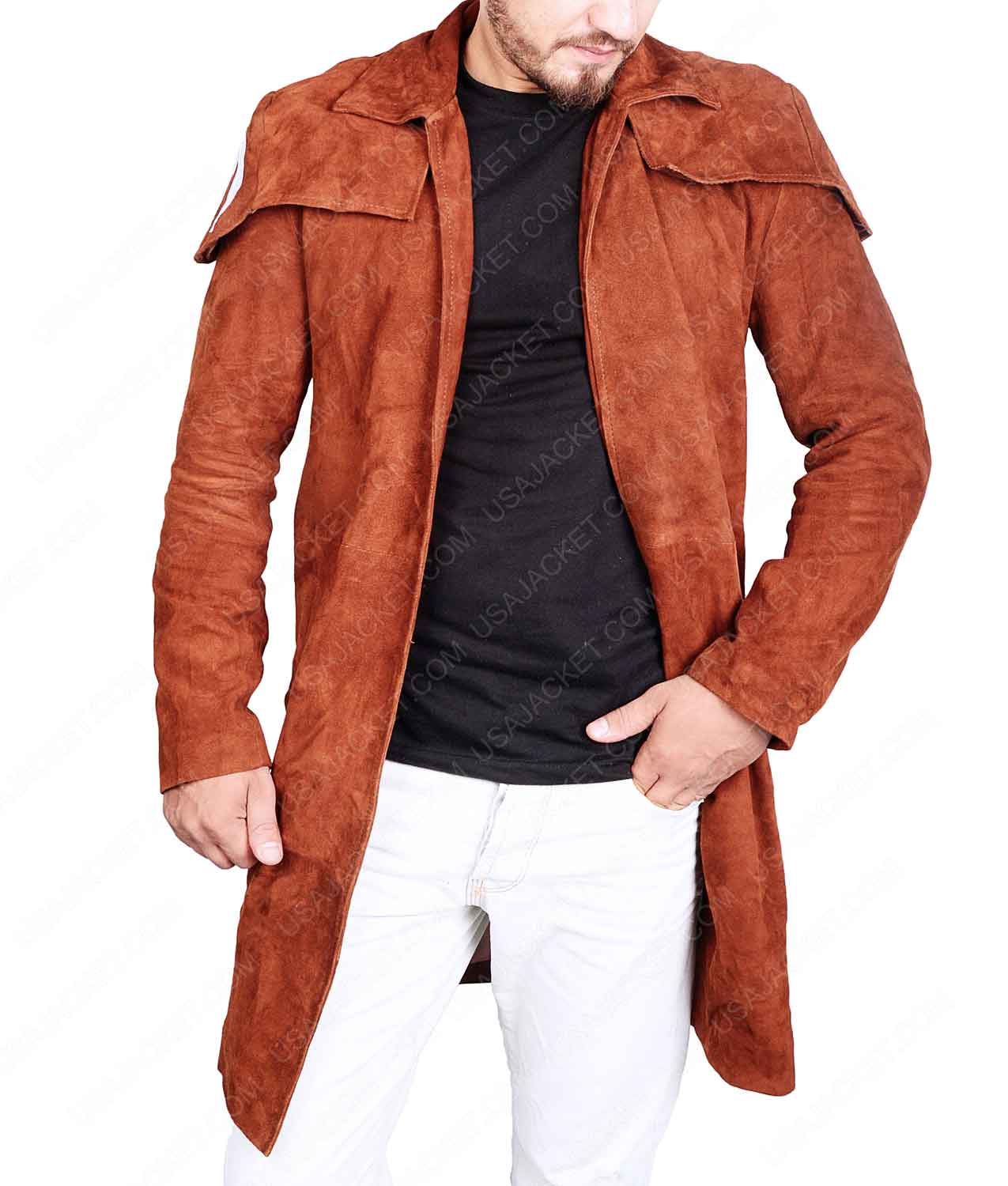 choose best search for genuine shop for newest Destructive A7 Mens Brown Suede Duster Coat