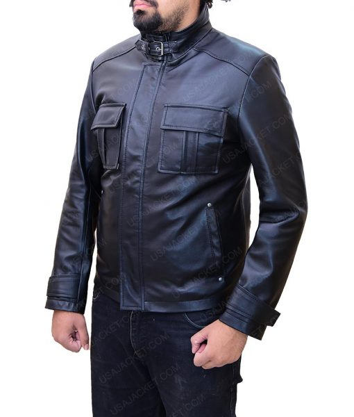 Jake Moore Wall Street Money Never Sleeps Black Leather Jacket